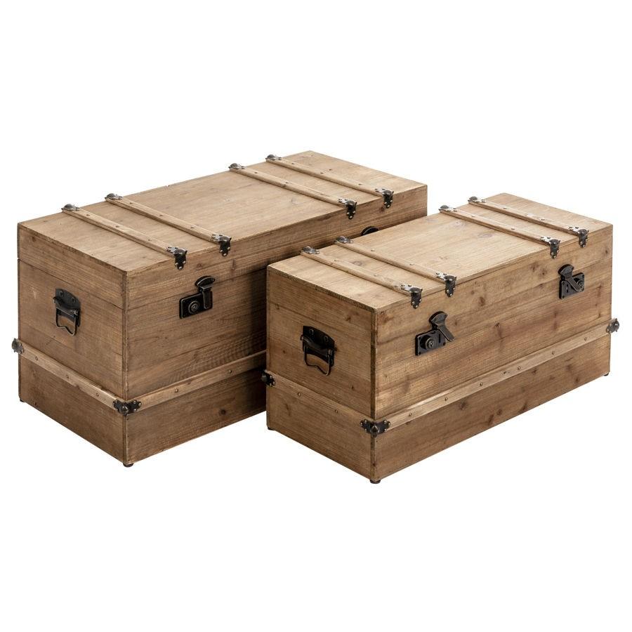 Set de 2 malles en bois brut avec intérieur noir vical home vical h...