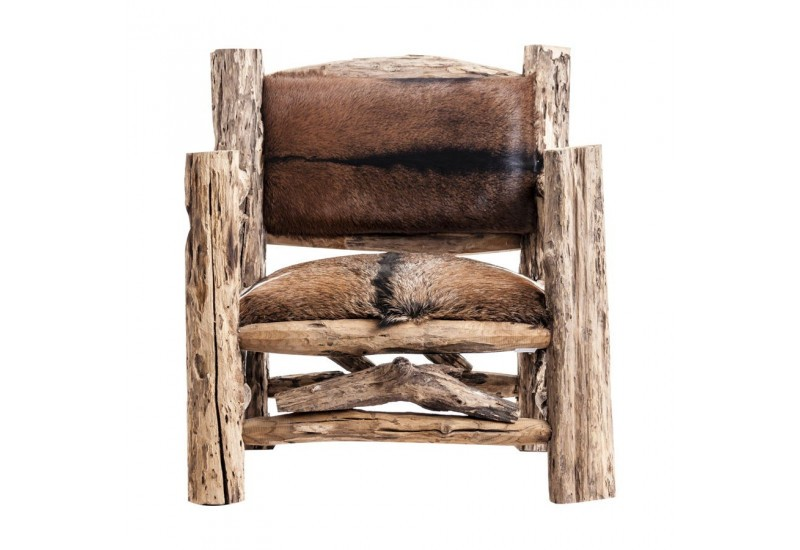 fauteuil original en tronc de bois et peau de b te vical home vical. Black Bedroom Furniture Sets. Home Design Ideas