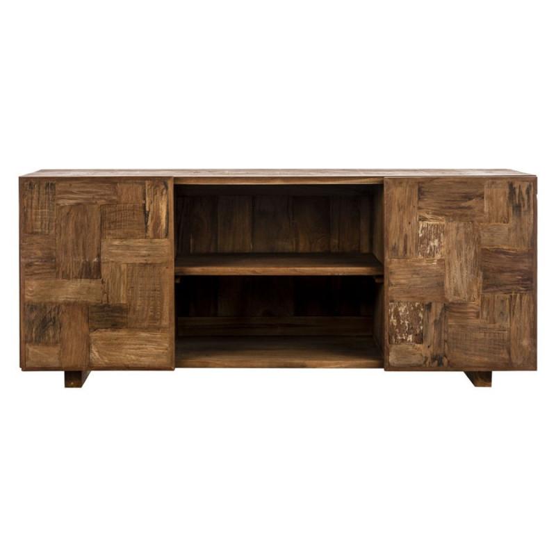 Meuble tv industriel rectangle en bois brut aux portes - Meuble tv en bois brut ...