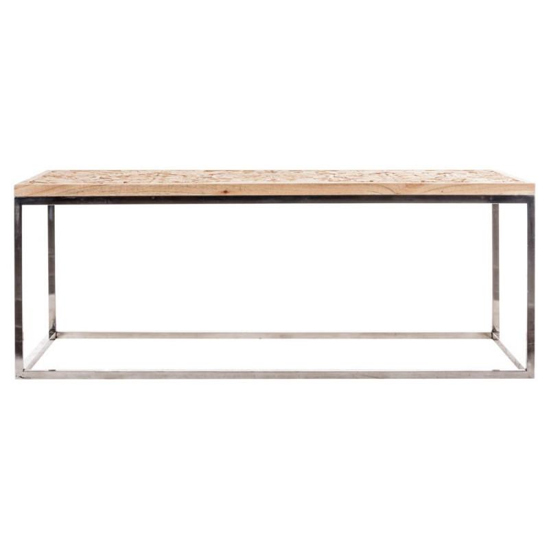 Table basse de salon rectangulaire avec un plateau en bois - Customiser un plateau en bois ...