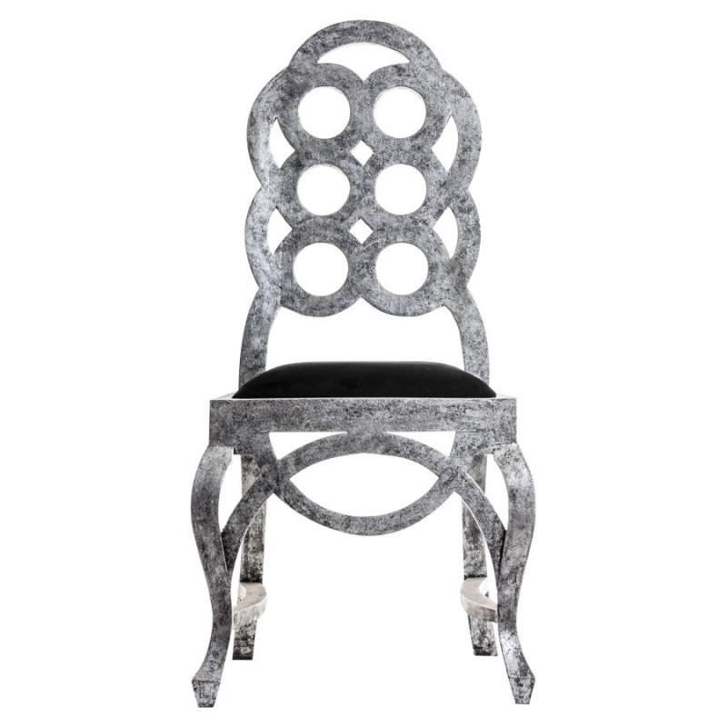 Chaise baroque grise avec une assise noire vical home - Chaise baroque avec accoudoir ...