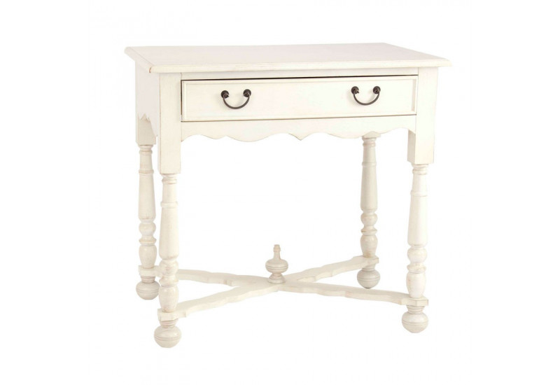 petite console en bois blanc patin 1 tiroir vical home vical home. Black Bedroom Furniture Sets. Home Design Ideas