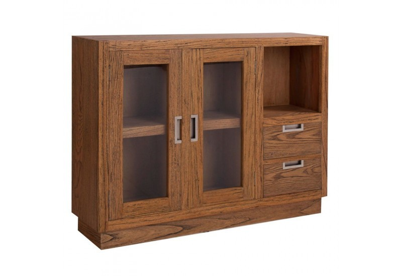 buffet bas moderne en bois exotique 2 portes vitr es 2 tiroirs et 1. Black Bedroom Furniture Sets. Home Design Ideas
