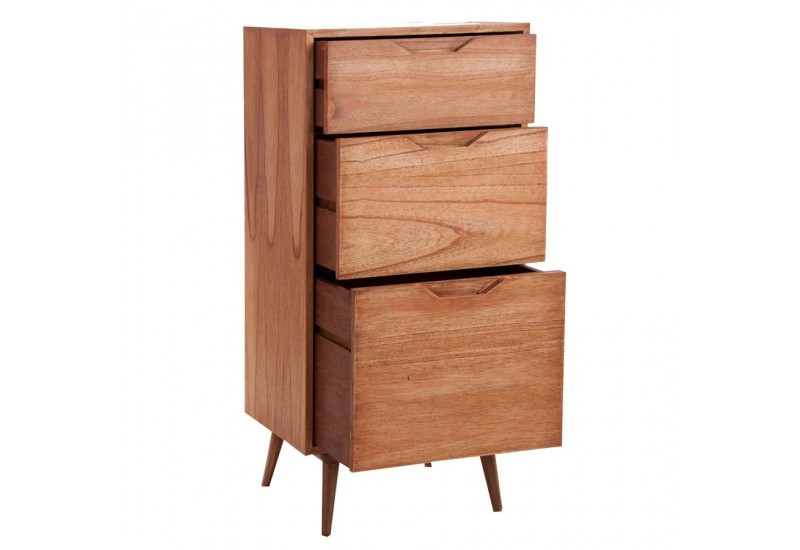 chiffonnier en bois exotique 3 tiroirs style scandinave. Black Bedroom Furniture Sets. Home Design Ideas