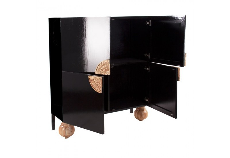 vitrine moderne en bois de manguier vernis noir et naturel 4 portes. Black Bedroom Furniture Sets. Home Design Ideas