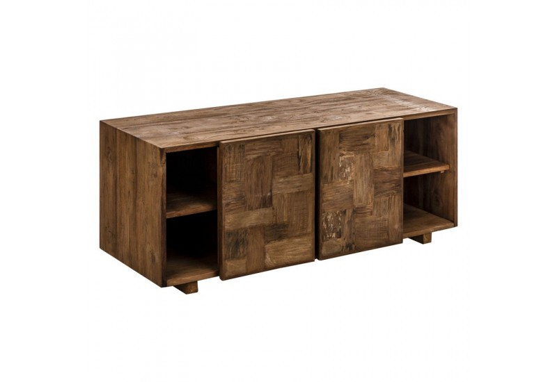 meuble tv industriel rectangle en bois brut aux portes coulissantes. Black Bedroom Furniture Sets. Home Design Ideas