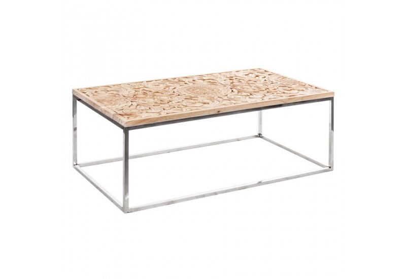Table basse de salon rectangulaire avec un plateau en bois for Table un pied
