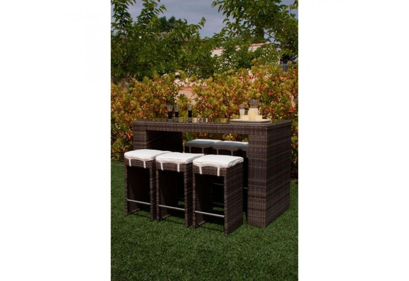 salon de jardin 7 pi ces bar en r sine tress e marron. Black Bedroom Furniture Sets. Home Design Ideas