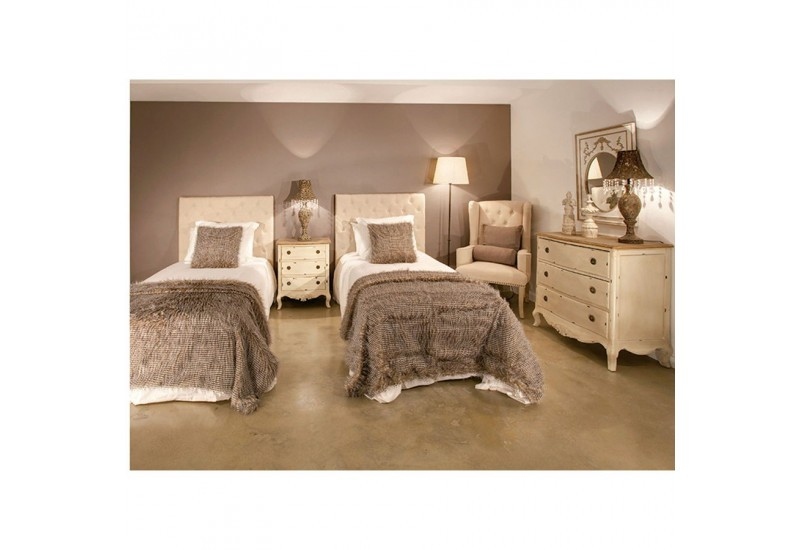 t te de lit 1 personne en tissus beige capitonn e vical. Black Bedroom Furniture Sets. Home Design Ideas
