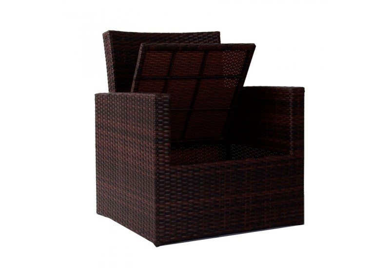 salon de jardin 4 pi ces en r sine tress e marron 2 fauteuils 1 can. Black Bedroom Furniture Sets. Home Design Ideas