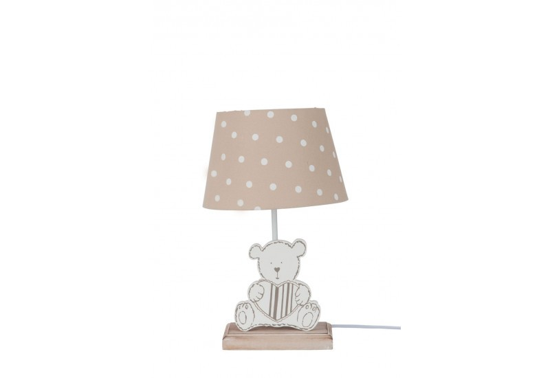 lampe enfant ours en bois et abat jour petit pois blanc et. Black Bedroom Furniture Sets. Home Design Ideas