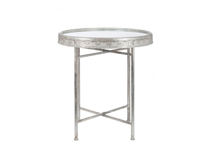 Table d 39 appoint oriental en m tal gris 76x76x80cm j line j for Table d appoint moderne
