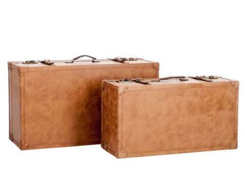 ensemble de 2 valises en similicuir marron clair 70X40X28CM J-Line