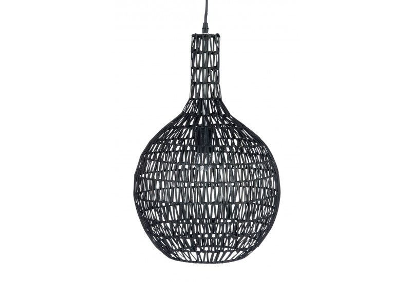 Suspension boule m tal et rotin noir 33x33x54cm j line j for Suspension rotin noir