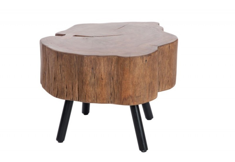 Table basse forme tronc d 39 arbre en bois massif et pied for Table plateau tronc d arbre