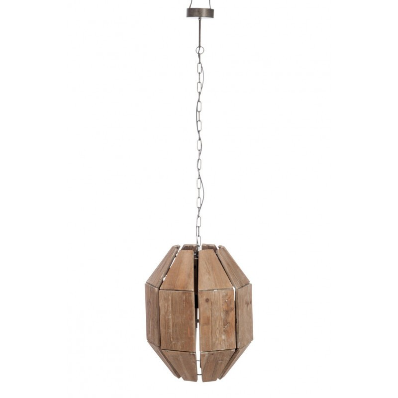 suspension octogonale en bois brut et m tal marron 43x43x156cm j line ebay. Black Bedroom Furniture Sets. Home Design Ideas