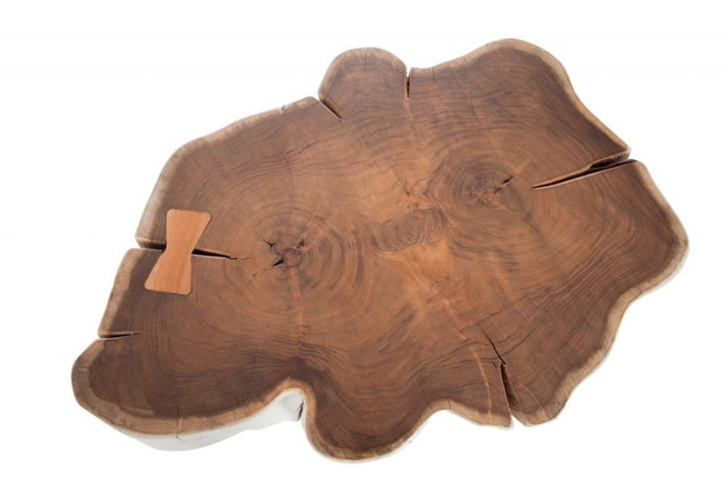 Table basse tronc d 39 arbre bois massif blanchi 60x65x40cm j for Table plateau tronc d arbre