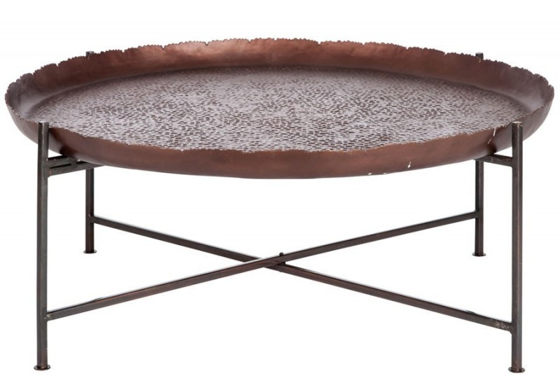 Table basse orientale aluminium - Table basse metal ronde ...