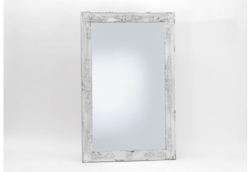 Miroir rectangulaire shabby chic blanc antique amadeus for Miroir rectangulaire blanc