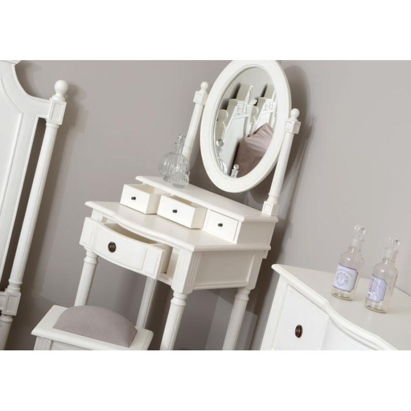 coiffeuse romantique 4 tiroirs blanc style louis xv agathe amadeus. Black Bedroom Furniture Sets. Home Design Ideas