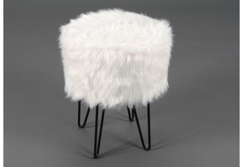 tabouret scandinave pieds m tal fourrure blanc amadeus amadeus 20019. Black Bedroom Furniture Sets. Home Design Ideas