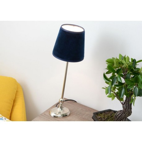 lampe pied rond chrome chic et abat jour en velours bleu canard am. Black Bedroom Furniture Sets. Home Design Ideas