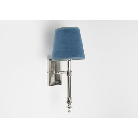 applique murale carre chrome chic et abat jour velours bleu canard. Black Bedroom Furniture Sets. Home Design Ideas