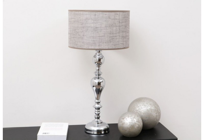 lampe poser baroque chandelle argent et son abat jour en lin taup. Black Bedroom Furniture Sets. Home Design Ideas