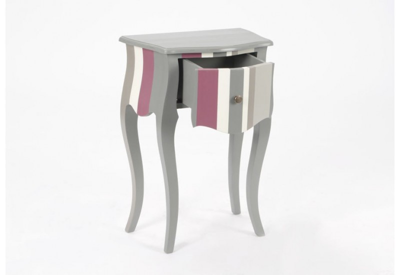 Table de chevet h ritier romantique glossy bayad re gris - Table de chevet romantique ...