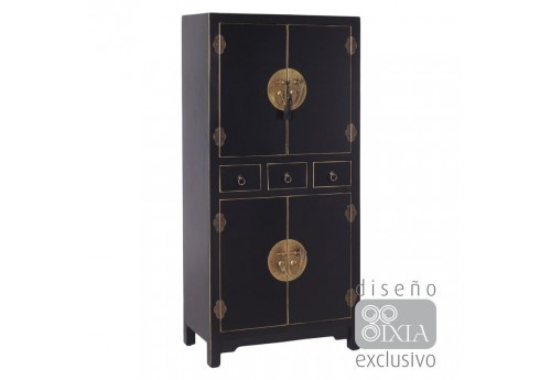 Armoire chinoise noire 63 X 33 X 131 CM By Auxportesdeladeco