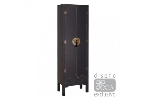 Armoire 2 portes Chinoise noire 55 X 33 X 185 CM By Auxportesdeladeco