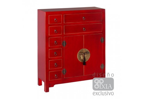buffet 8 portes chinois rouge 73 X 26 X 90 CM By Auxportesdeladeco