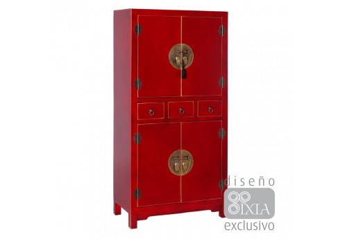 Armoire chinoise rouge 63 X 33 X 131 CM By Auxportesdeladeco