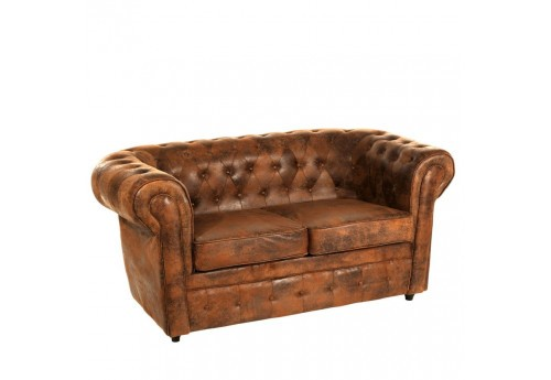 Canapé Chesterfield 2 places marron vieilli 168 X 90 X 76 CM By Auxportesdeladeco