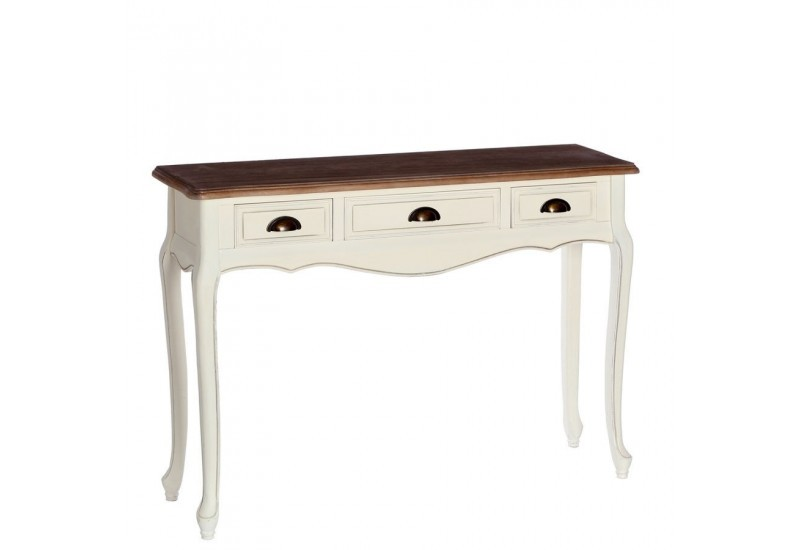 console 3 tiroirs romantique blanche minerva 110 x 30 x 80. Black Bedroom Furniture Sets. Home Design Ideas