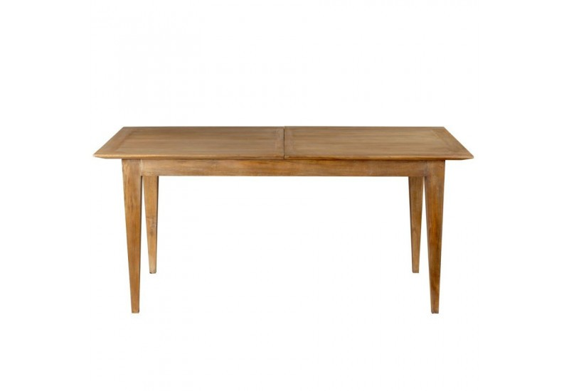Table manger rallonges nature en bois exotique 160 x for Table a manger 160 cm avec rallonge