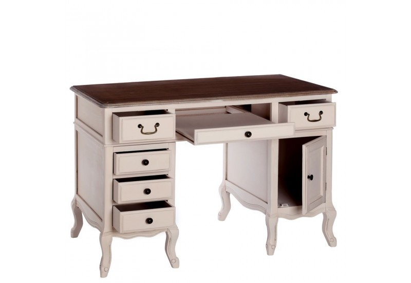 Bureau romantique cr me ainhoa 120 x 60 x 80 cm by for Meuble bureau 60 x 60