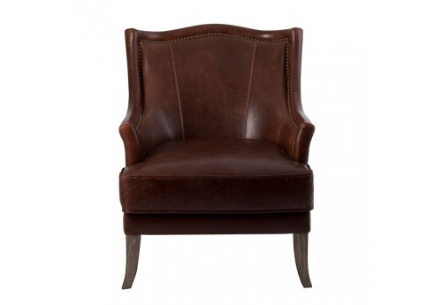 Fauteuil chic en cuir marron finition clouté or Vical Home