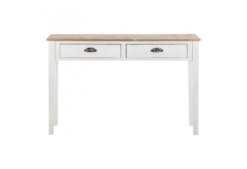 Console 2 tiroirs bois blanc antique vical home vical home - Console tiroir blanc ...