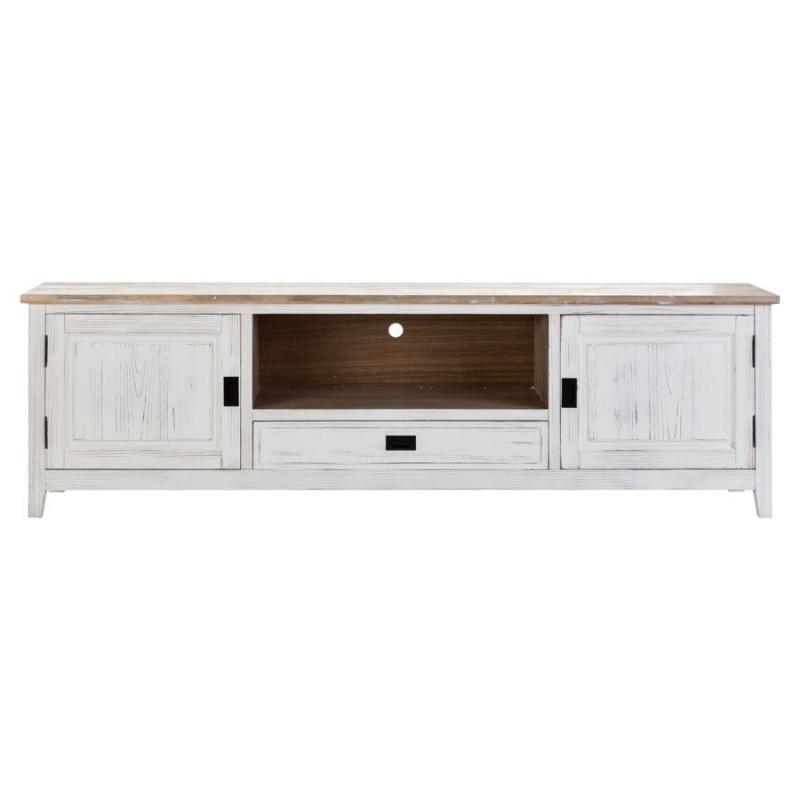 meuble tv 3 tiroirs en bois blanc antique vical home vical home 20592. Black Bedroom Furniture Sets. Home Design Ideas