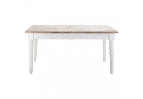 Table à manger rectangulaire en bois blanc antique avec rallonge Vical Home
