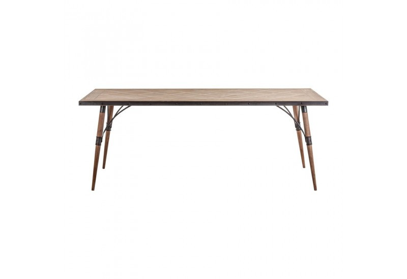 Table manger r tro en bois sculpt e naturel finition - Table a manger metal et bois ...