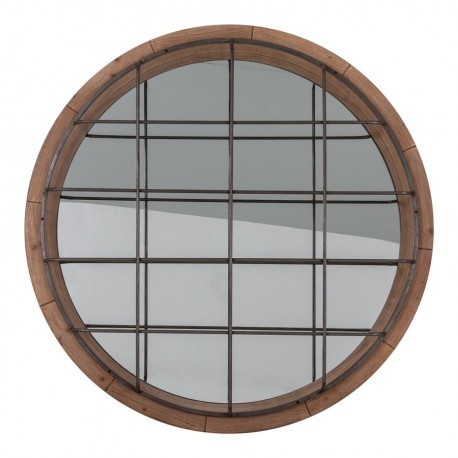 Miroir rond en bois brut grillag vical home vical home 20620 for Miroir en bois brut