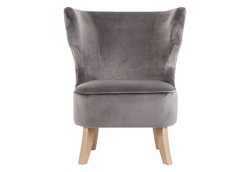 Chauffeuse chic en velours gris vical home vical home 20689 - Chauffeuse grise ...