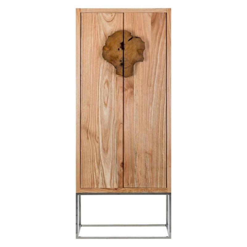 Petite armoire 2 portes coloniale en bois exotique sur for Petite porte bois