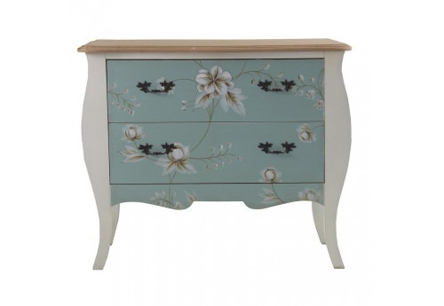 commode baroque chic florale 2 tiroirs turquoise et blanc vical hom. Black Bedroom Furniture Sets. Home Design Ideas