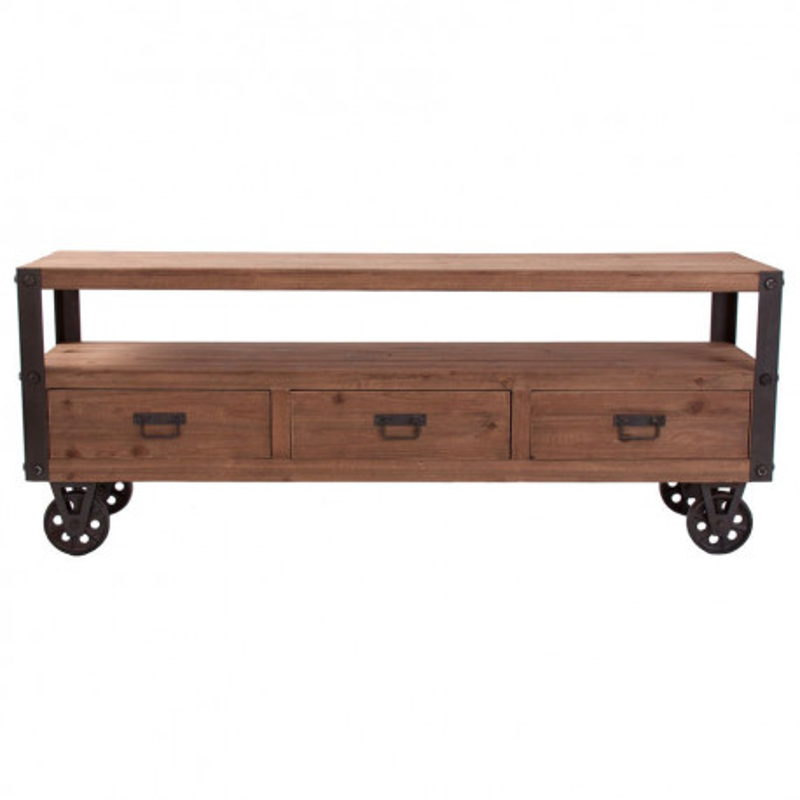 Meuble tv en bois naturel sur roulettes industriel vical home vical - Meuble tv a roulettes ...