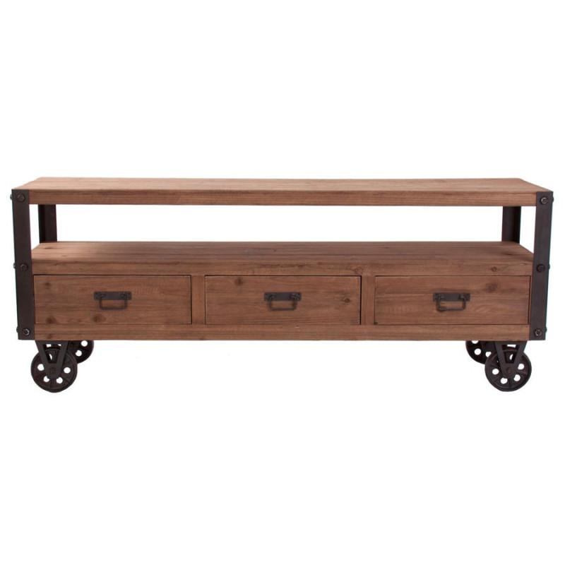 meuble tv en bois naturel sur roulettes industriel vical home vical. Black Bedroom Furniture Sets. Home Design Ideas