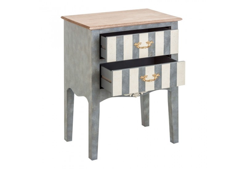 petite commode baroque chic 2 tiroirs rayure blanc et gris vical ho. Black Bedroom Furniture Sets. Home Design Ideas