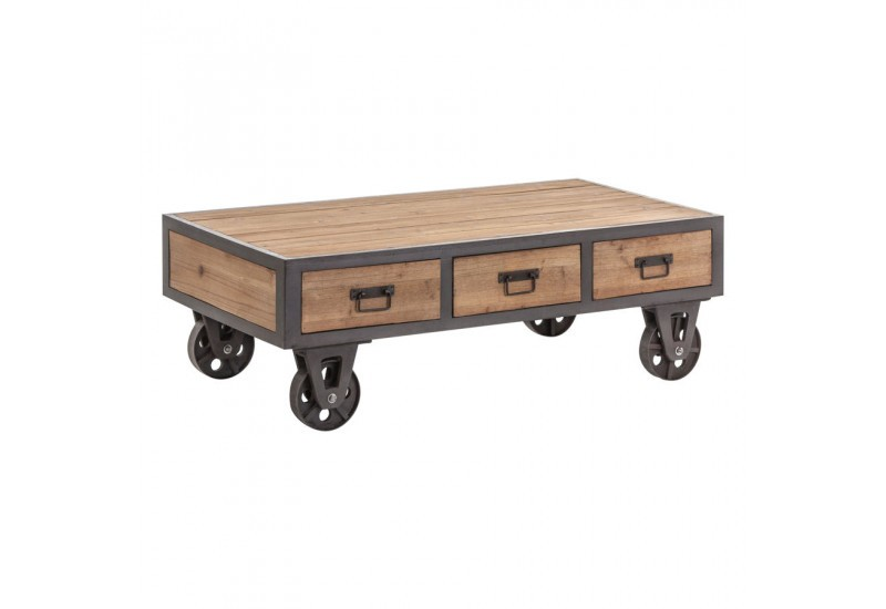 table basse industriel sur roulettes en m tal gris et en bois brut. Black Bedroom Furniture Sets. Home Design Ideas